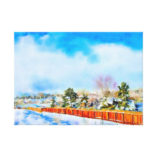Winter Watercolor Landscape Reno, NV Canvas Print