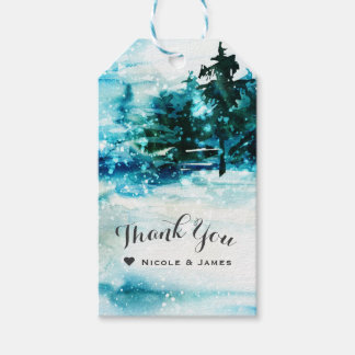 Winter Watercolor Snowy Forest Pine Trees Wedding Pack Of Gift Tags