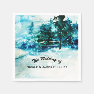 Winter Watercolor Snowy Forest Pine Trees Wedding Paper Napkin
