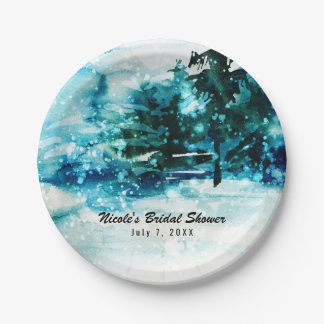 Winter Watercolor Snowy Forest Pine Trees Wedding Paper Plate