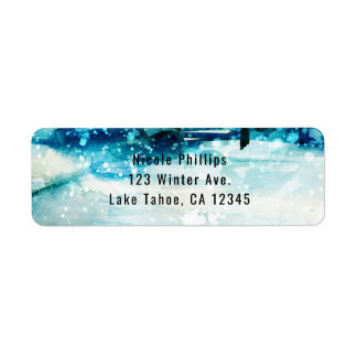 Winter Watercolor Snowy Forest Pine Trees Wedding Return Address Label