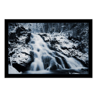 Winter Waterfall (Bordered) Poster