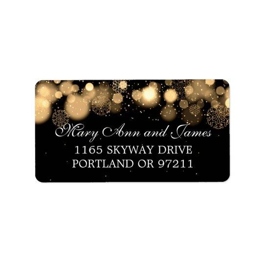 Winter Wedding Address Gold Lights