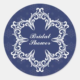 Winter Wedding Bridal Shower Sticker in Navy