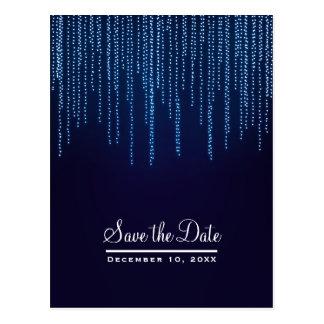 Winter Wedding Elegant Blue Lights Save the Date Postcard