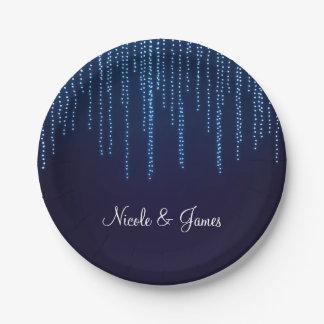 Winter Wedding Elegant Blue Sparkle String Lights Paper Plate