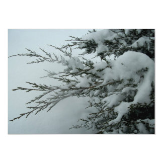 "Winter Wedding Evergreen Tree With Snow 5"" X 7"" Invitation Card"
