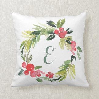 Winter Wedding Floral Watercolor Wreath | Monogram Throw Pillow
