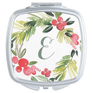 Winter Wedding Floral Watercolor Wreath | Monogram Travel Mirrors