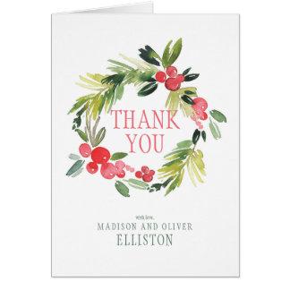 Winter Wedding Floral Wreath  | Thank You Card