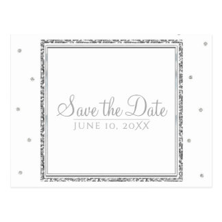 Winter Wedding Glam Silver & White Save the Date Postcard