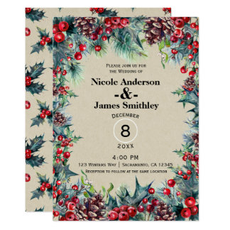Winter Wedding Holiday Christmas Berries Pine Cone Card