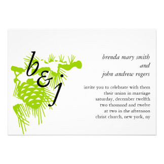 Winter Wedding Invitations Initials Green