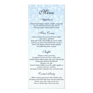 Winter Wedding menu, Snowflake Wedding Menu Card