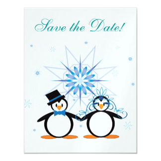 """Winter Wedding Penguins Save the Date 4.25"""" X 5.5"""" Invitation Card"""