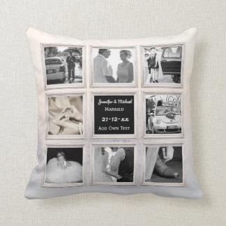 Winter Wedding Photo Collage Or Anniversary Snow 2 Throw Pillow