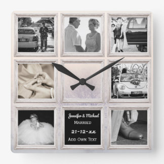 Winter Wedding Photo Collage Or Anniversary Snow Square Wall Clock