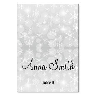 Winter Wedding place cards,Snowflakes Wedding plac Card