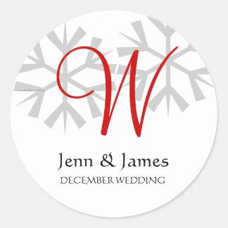 Winter Wedding Red Announcement Monogram Seal