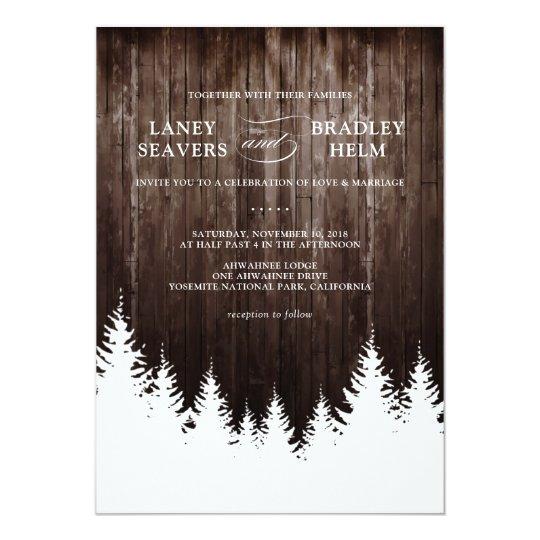 Winter Wedding Rustic Wood Wedding Invitation