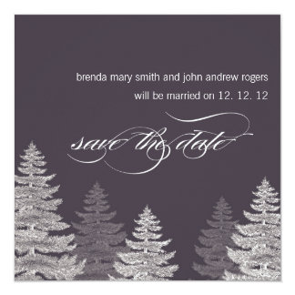 Winter Wedding Save the Date Cards Trees