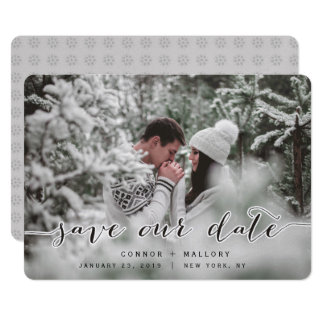 Winter wedding save the date template card