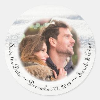 Winter Wedding Snow Photo Save the Date Classic Round Sticker