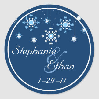 Winter Wedding Snowflakes Personalized Sticker