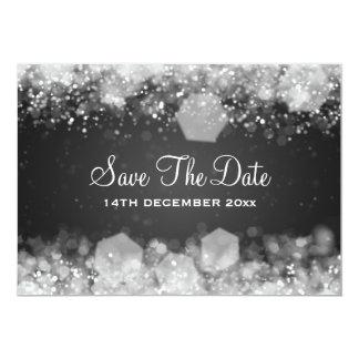 Winter Wedding Sparkling Night Black Custom Announcements