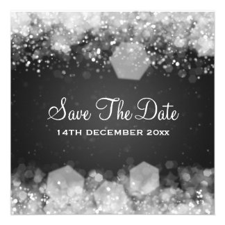 Winter Wedding Sparkling Night Black Personalized Announcements