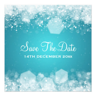 Winter Wedding Sparkling Night Blue Personalized Invitations