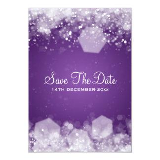 Winter Wedding Sparkling Night Purple Custom Announcement