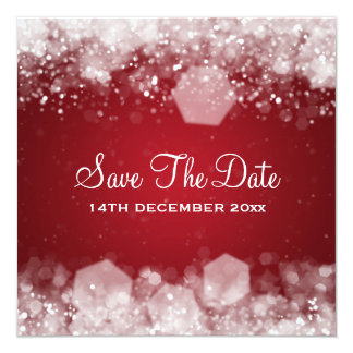 "Winter Wedding Sparkling Night Red 5.25"" Square Invitation Card"