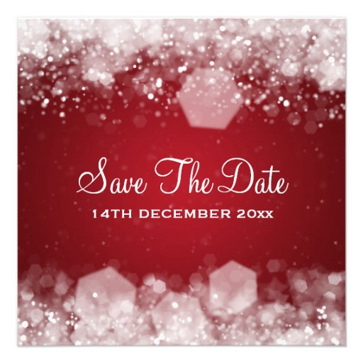 Winter Wedding Sparkling Night Red Personalized Invitations