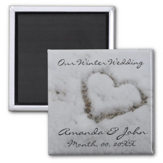 Winter Wedding Square Magnet