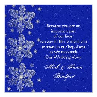 "Winter Wedding Vow Renewal Inviation - Blue/snow 5.25"" Square Invitation Card"