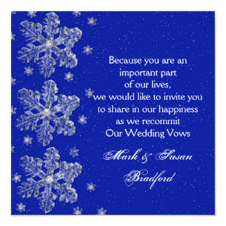 Winter Wedding Vow Renewal Inviation - Blue/snow Card