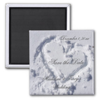 Winter Weddings Save the Date Square Magnet