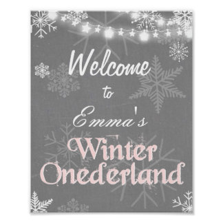 Winter Welcome Sign Onederland birthday Girl Pink