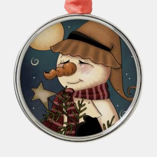 Winter Welcome Snowman Folk Art Ornament