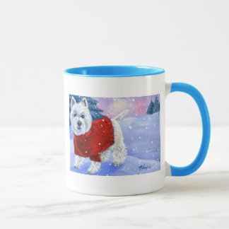 Winter Westie Mug with Colored Handle