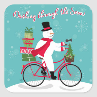 Winter Whimisical snowman on bike Square Sticker