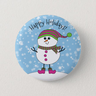 Winter Whimsy Snowman Happy Holidays 2 Inch Round Button