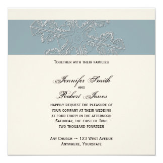 Winter White and Blue Wedding Invitation
