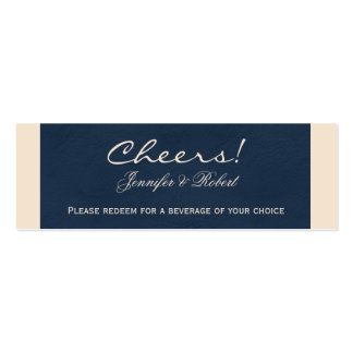 Winter White and Navy Blue Wedding Drink Tickets Mini Business Card