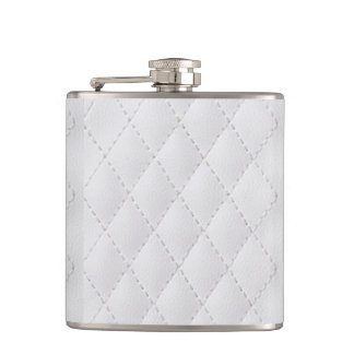 winter white faux leather graphic hipster flasks