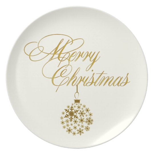 Winter White & Gold Christmas Plate
