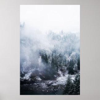 Winter White Hillside Poster