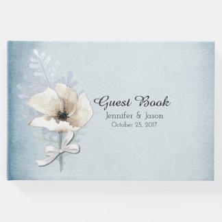 Winter White Poppy Wedding Guest Book