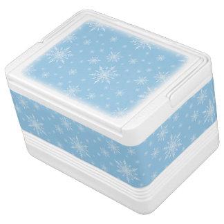 Winter White Snowflakes on Light Cornflower Blue